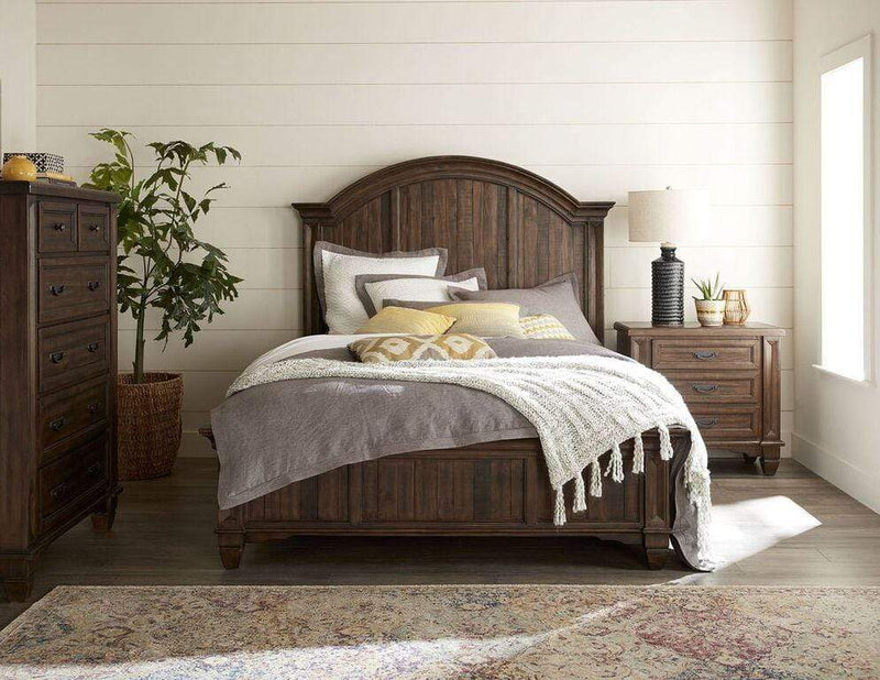 Colston Solid Wood Panel Bed in Burlap