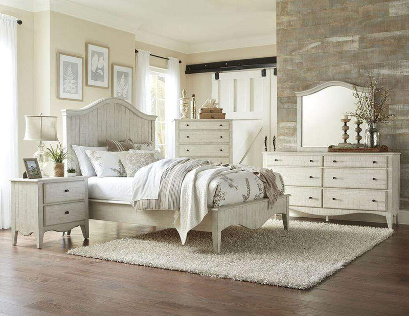 Ella Solid Wood Crown Bed in White Wash