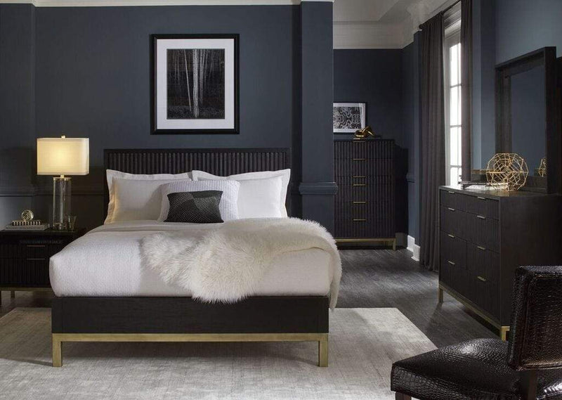 Kentfield Solid Wood Platform Bed in Black Drifted Oak - What A Room