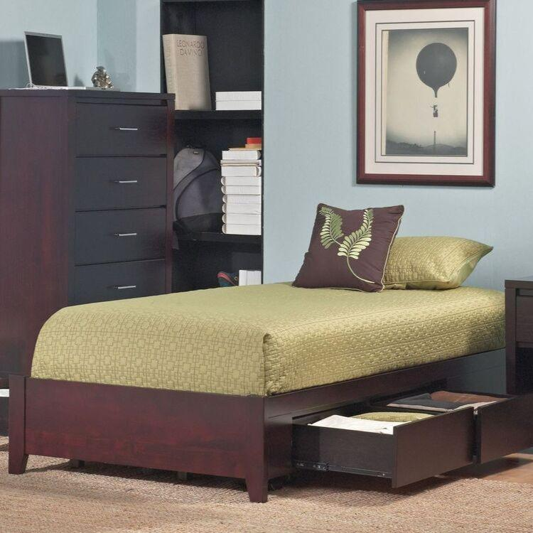 Simple Platform Storage Bed in Espresso - What A Room Furniture