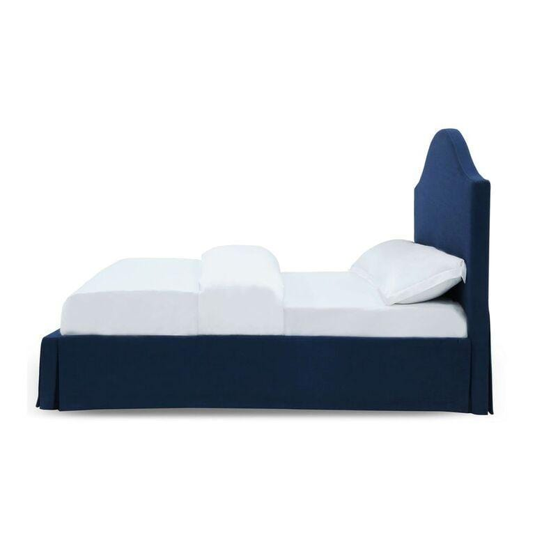 Sur Upholstered Skirted Panel Bed in Navy - What A Room