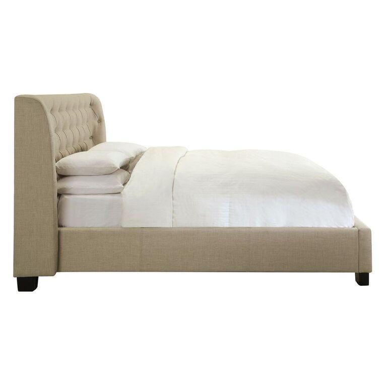 Tavel Nailhead Platform Bed in Toast Linen - What A Room Furniture