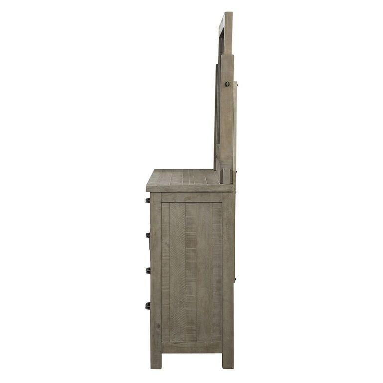Austin Five Drawer One Door Solid Wood Chesser in Rustic Gray