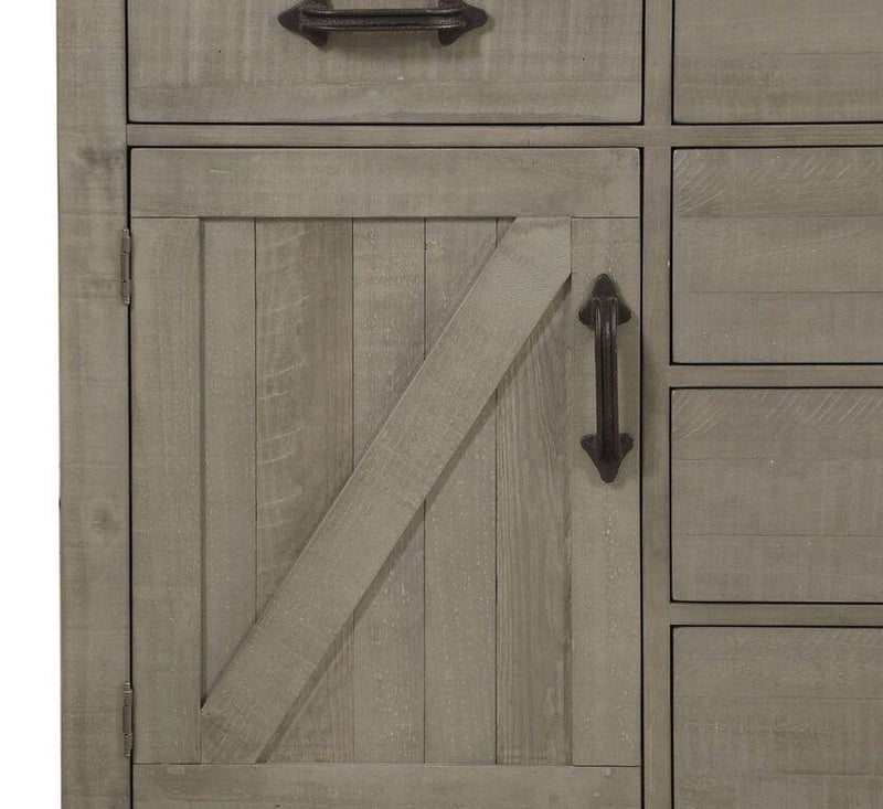 Austin Five Drawer One Door Solid Wood Chesser in Rustic Gray - What A Room Furniture