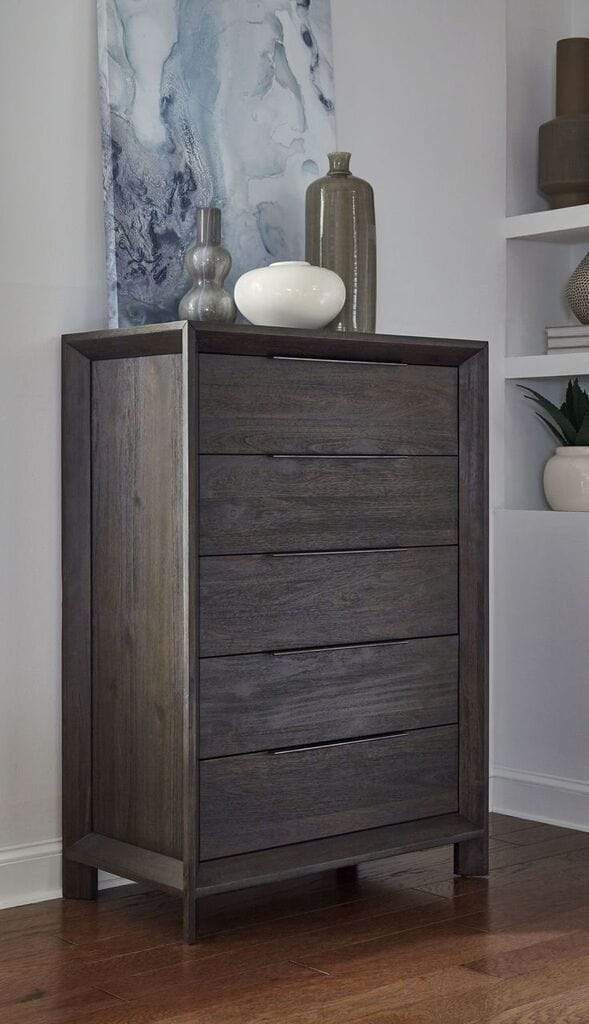 Chloe Solid Wood Five-Drawer Chest in Basalt Grey
