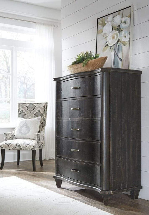 Philip Solid Wood Five Drawer Chest in Dark Espresso