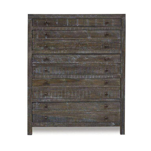 Townsend Solid Wood Five Drawer Chest in Gunmetal