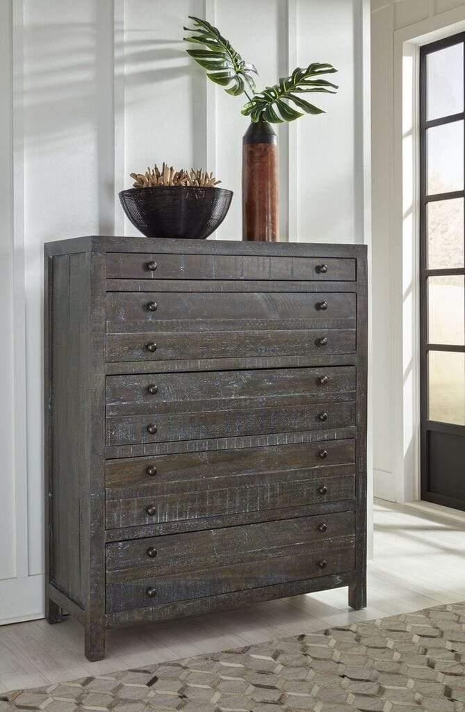 Townsend Solid Wood Five Drawer Chest in Gunmetal - What A Room