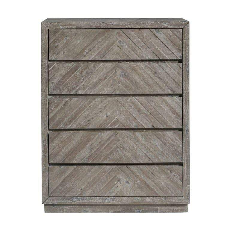 Herringbone Solid Wood 5 Drawer Chest in Rustic Latte - What A Room