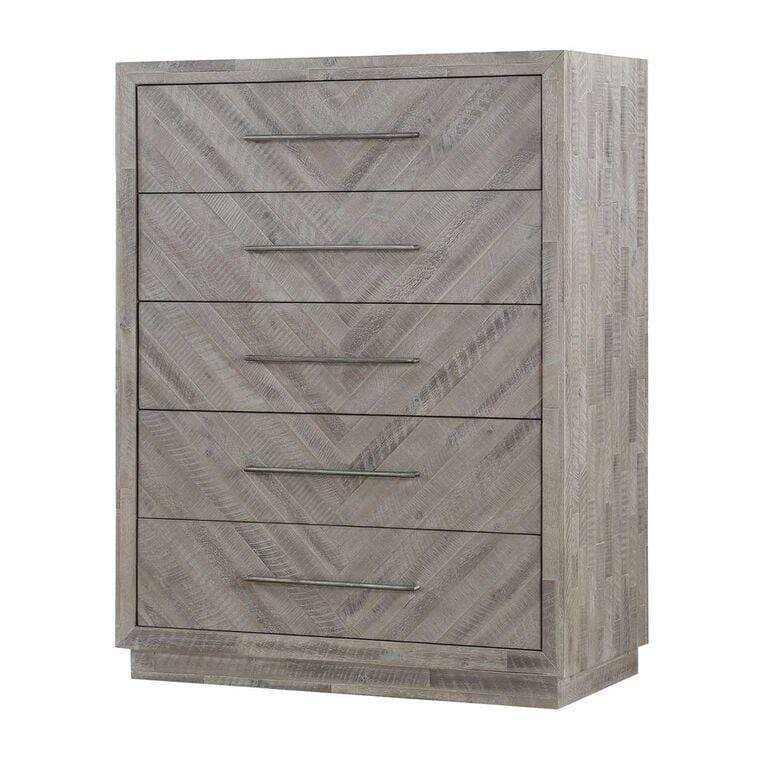 Alexandra Solid Wood Five Drawer Chest in Rustic Latte - What A Room Furniture