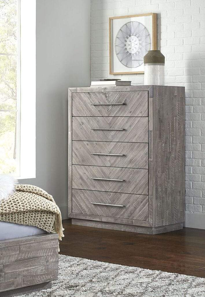 Alexandra Solid Wood Five Drawer Chest in Rustic Latte