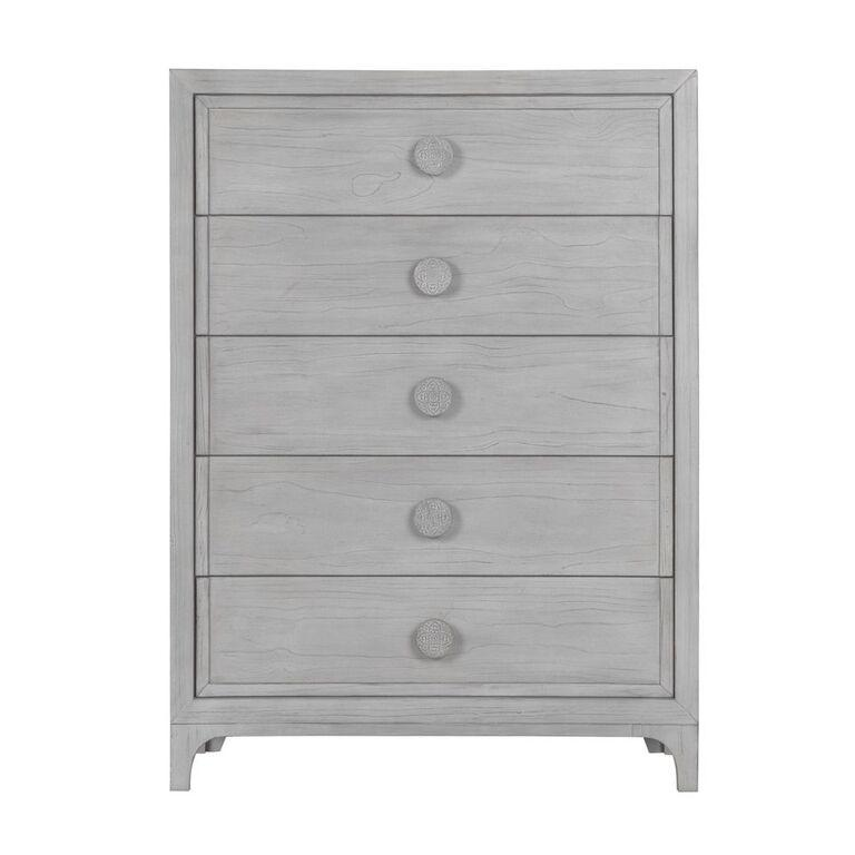 Boho Chic Five-Drawer Chest in Washed White