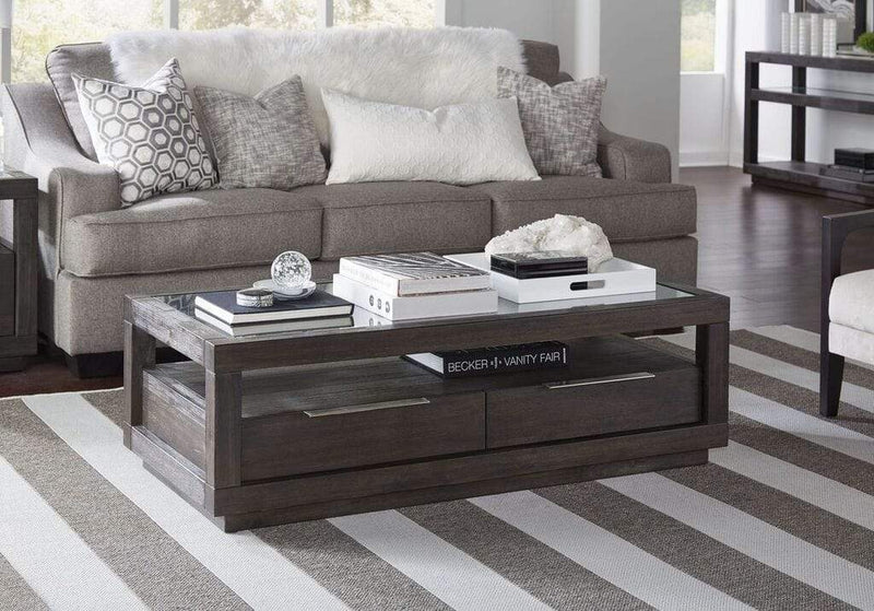 Oxford Two Drawer Rectangular Coffee Table in Basalt Grey