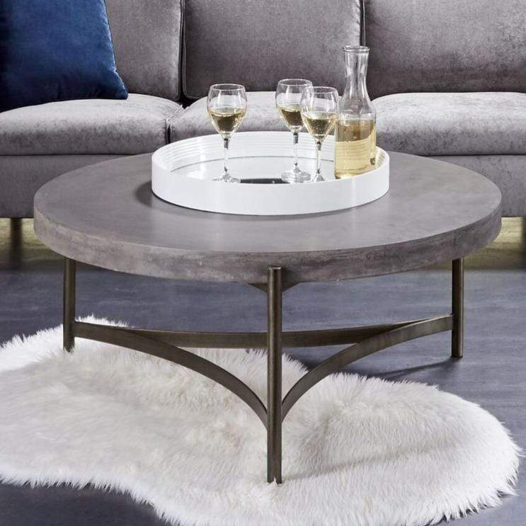 Lyon Round Concrete and Metal Coffee Table - What A Room Furniture