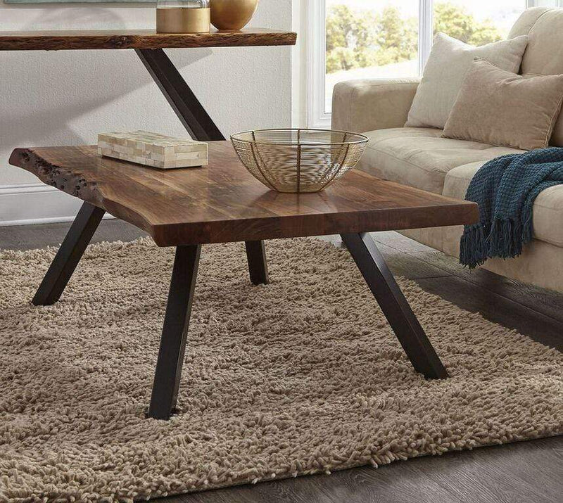 Reese Live Edge Rectangular Coffee Table in Natural Acacia - What A Room Furniture
