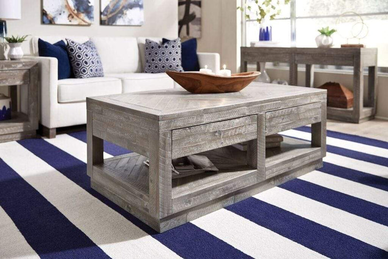 Herringbone Solid Wood Two Drawer Coffee Table in Rustic Latte - What A Room Furniture