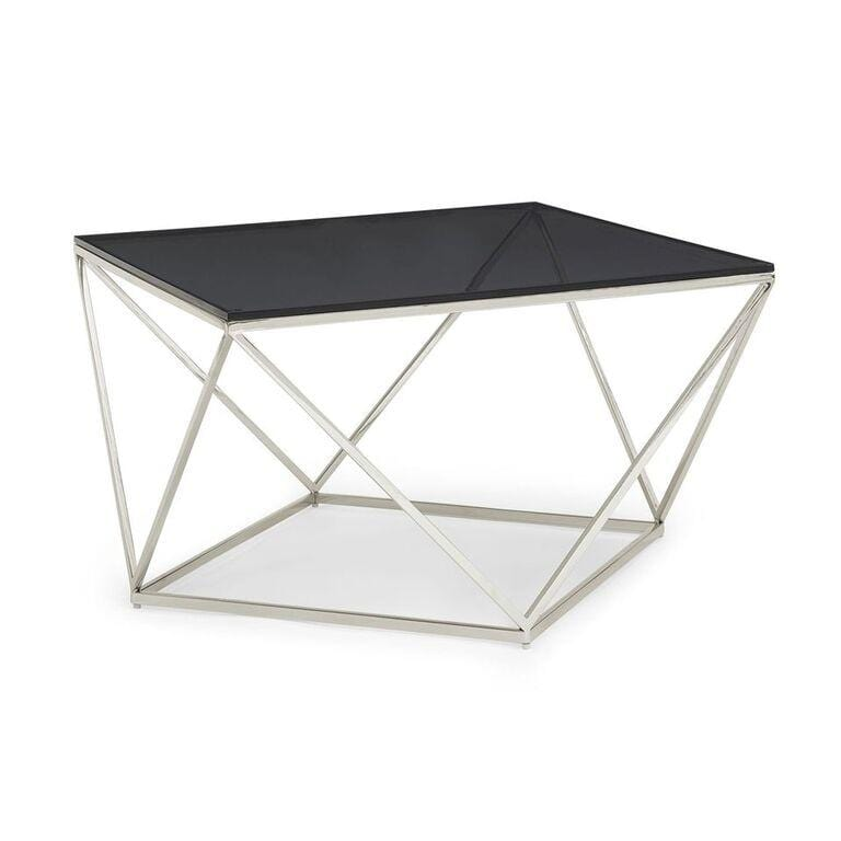 Aria Smoked Glass and Polished Stainless Steel Coffee Table - What A Room Furniture