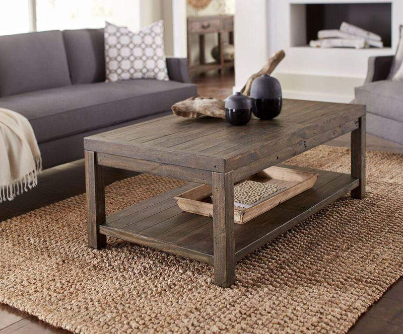 Craster Reclaimed Wood Rectangular Coffee Table in Smoky Taupe - What A Room