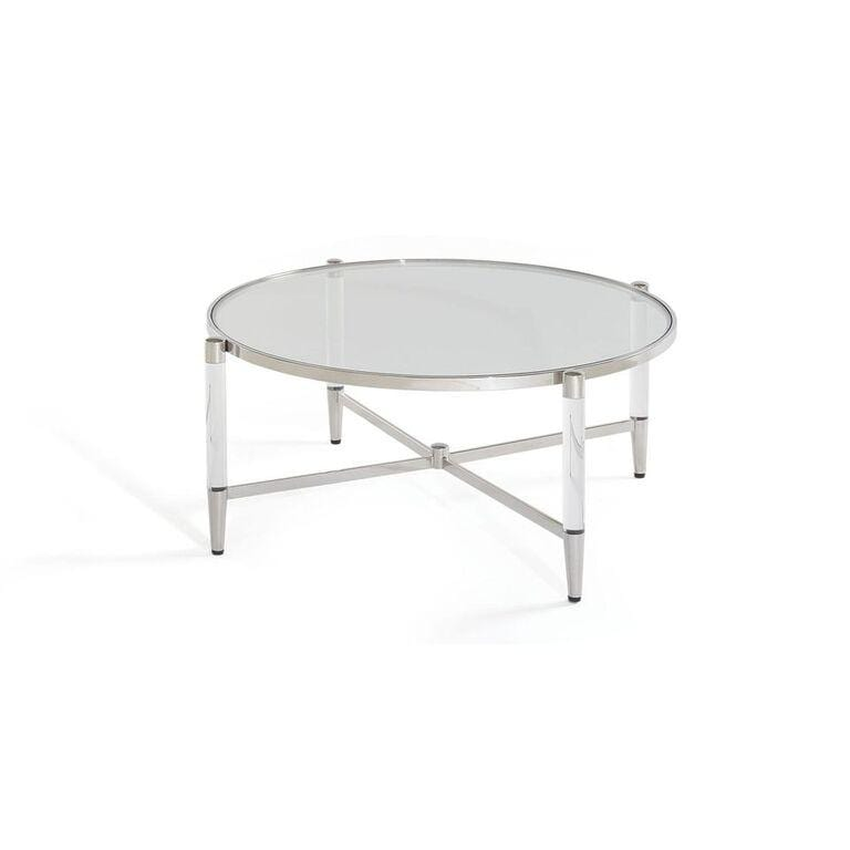 Mariyln Glass Top and Steel Base Round Coffee Table - What A Room Furniture