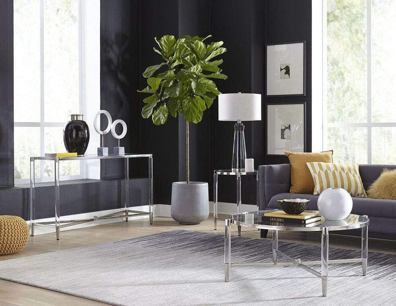 Mariyln Glass Top and Steel Base Round Coffee Table - What A Room