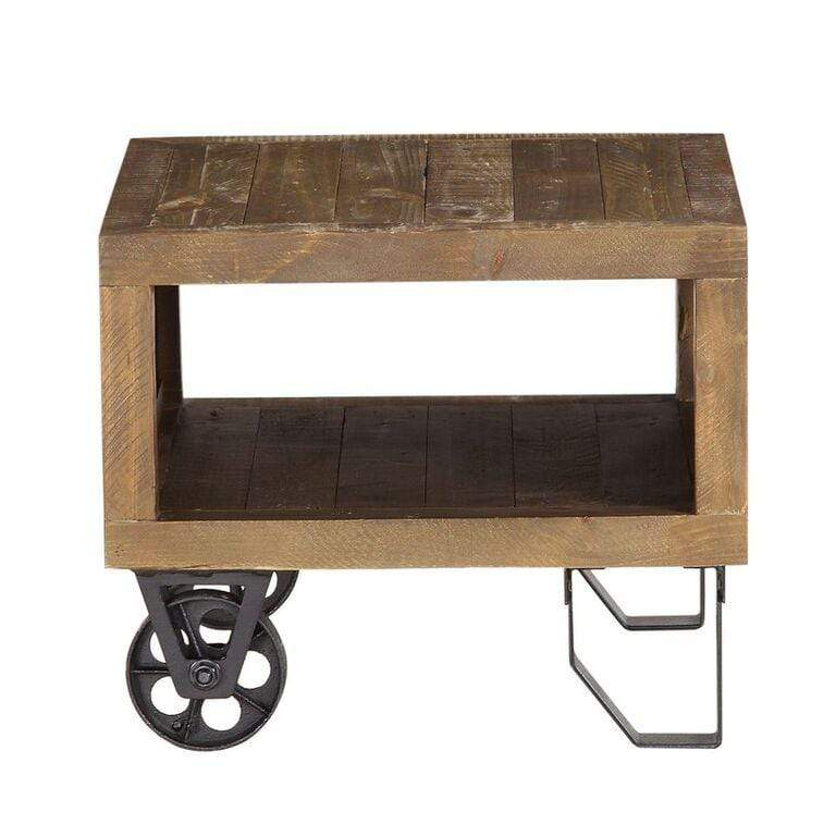 Coalburn Reclaimed Wood Square Side Table in Russett Brown - What A Room