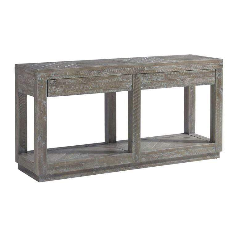 Herringbone Solid Wood Two Drawer Console in Rustic Latte - What A Room Furniture