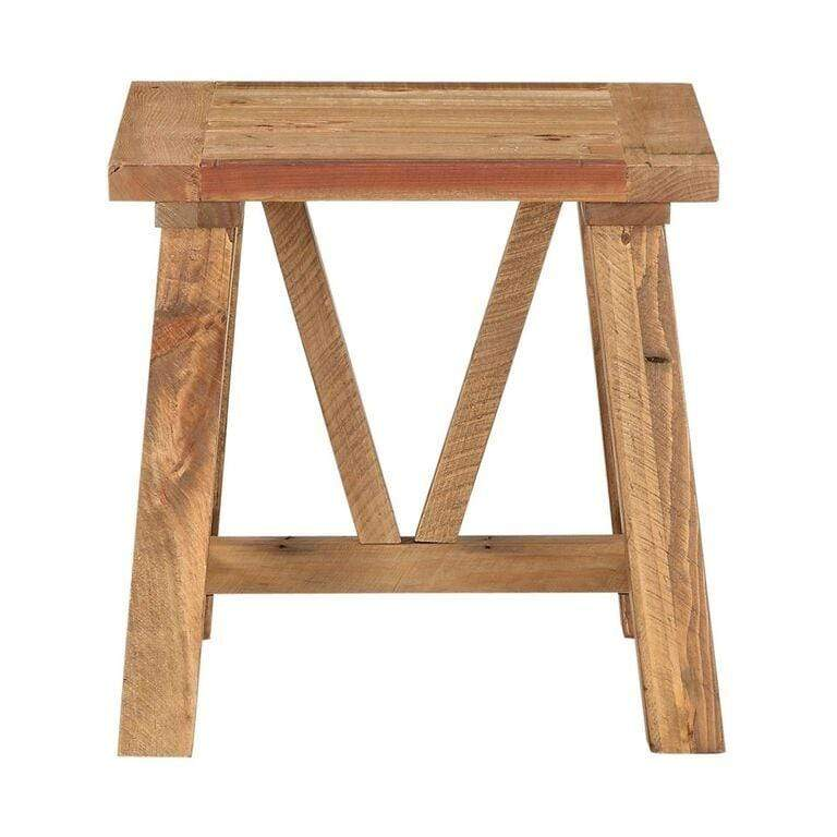 Harby Reclaimed Wood Square Side Table in Rustic Tawny - What A Room Furniture