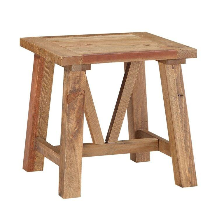 Harby Reclaimed Wood Square Side Table in Rustic Tawny
