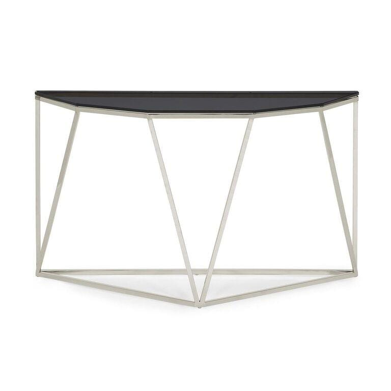 Aria Smoked Glass and Polished Stainless Steel Console Table - What A Room Furniture
