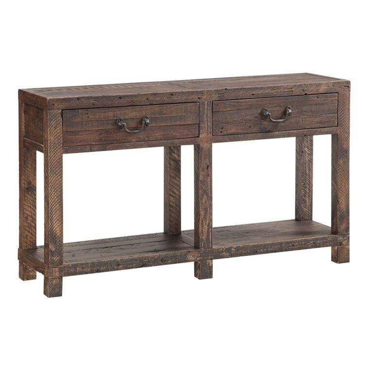 Craster Reclaimed Wood Console Table in Smoky Taupe - What A Room Furniture