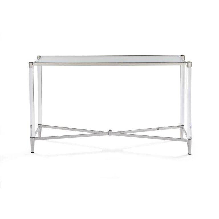 Marilyn Glass Top and Steel Base Rectangular Console Table - What A Room Furniture