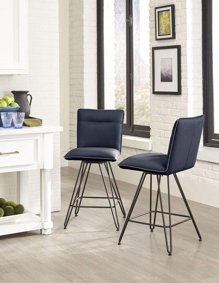 Demi Hairpin Leg Swivel Counter Stool in Cobalt - Set of 2 - What A Room Furniture