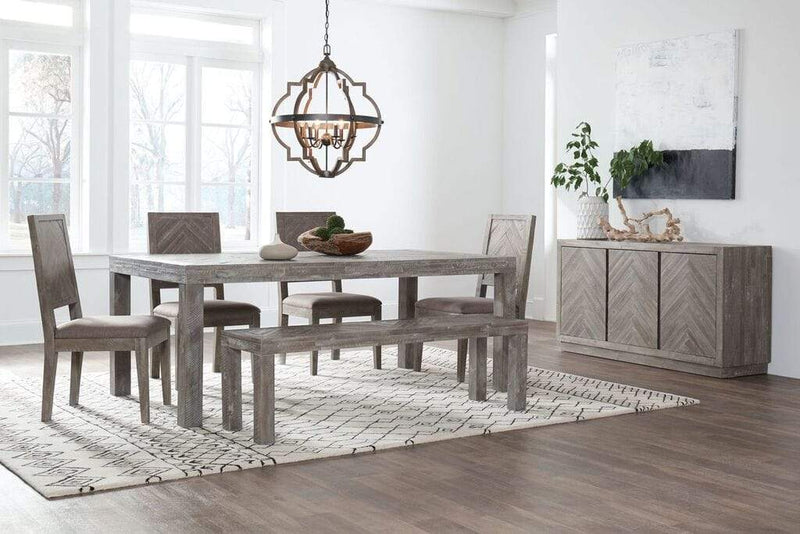 Herringbone Solid Wood Dining Bench in Rustic Latte - What A Room