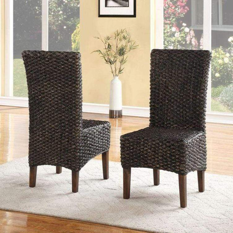 Meadow Wicker Dining Chair in Brick Brown (set of 2) - What A Room Furniture