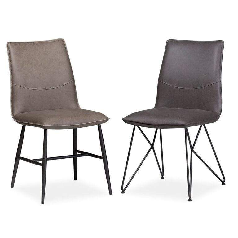 St. James Scoop-style Modern Dining Chair in Davy's Grey - Set of 2 - What A Room Furniture