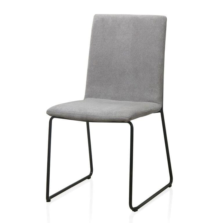 Baird Upholstered Sled Base Dining Chair in Gray - What A Room Furniture
