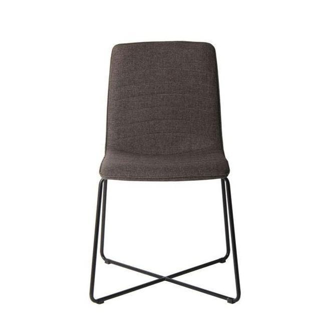 Bayleee Upholstered Cross Base Dining Chair in Grey - Set of 2 - What A Room Furniture