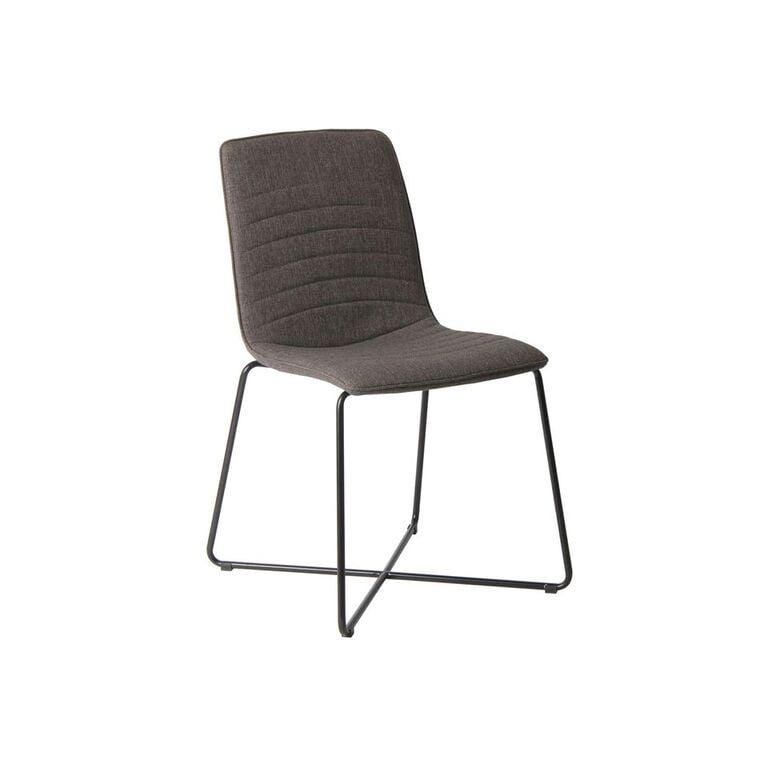Bayleee Upholstered Cross Base Dining Chair in Grey - What A Room Furniture