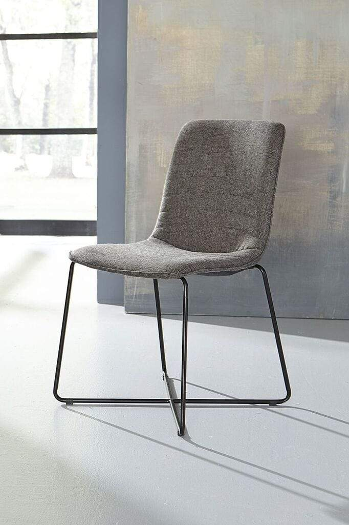 Bayleee Upholstered Cross Base Dining Chair in Grey - What A Room