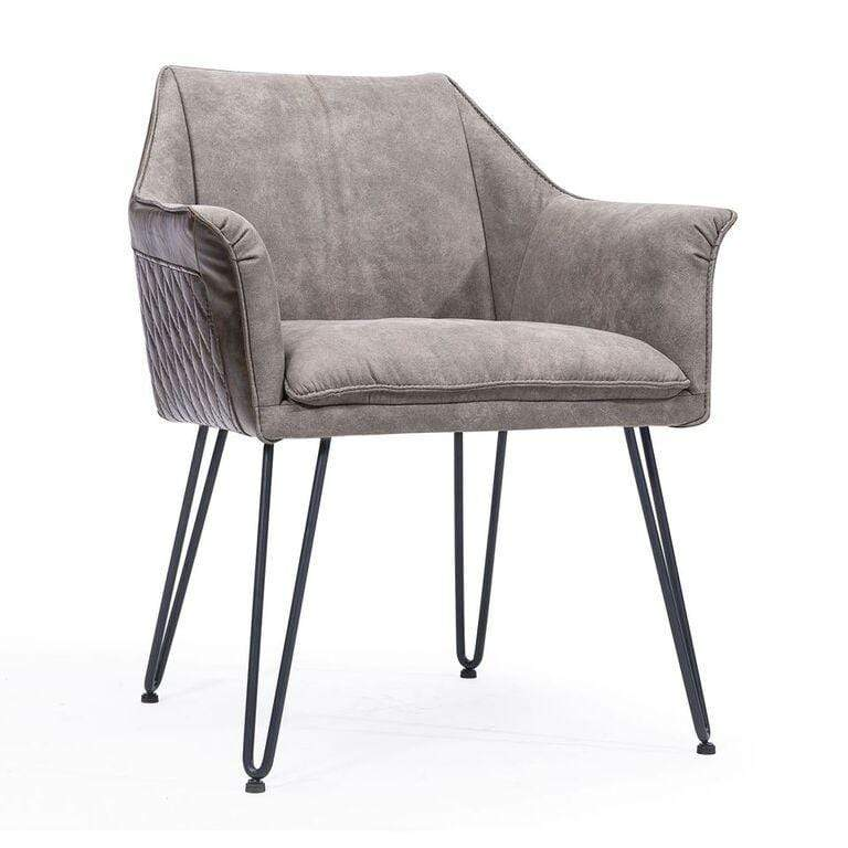 Alabaster Hairpin Leg Arm Chair in Gray and Rustic Brown - What A Room Furniture