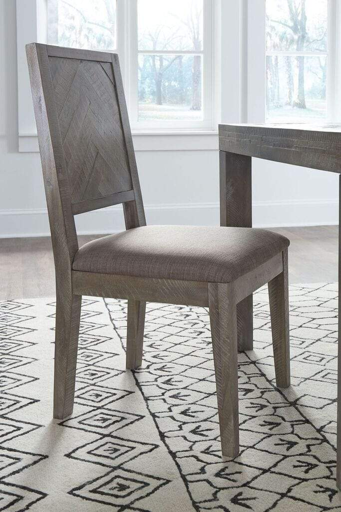 Herringbone Solid Wood Upholstered Dining Chair in Rustic Latte