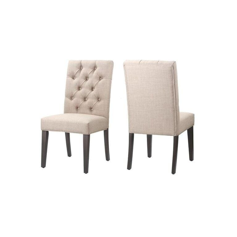 Kathryn Upholstered Parsons Dining Chair in Toast (set of 2) - What A Room Furniture