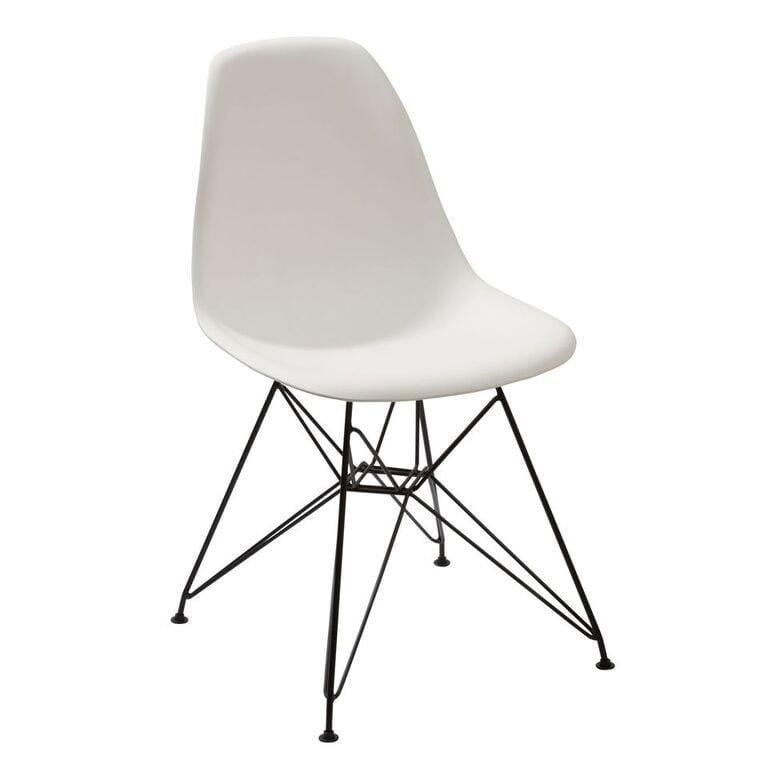 Rostock Molded Plastic Wire Base Dining Chair in White - Set of 2 - What A Room Furniture