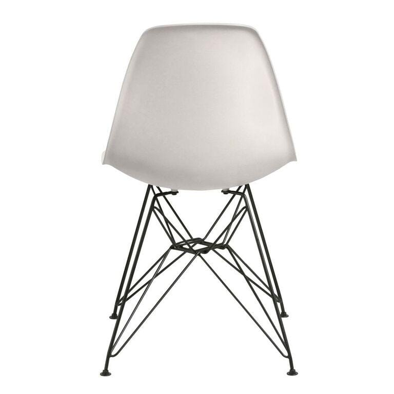 Rostock Molded Plastic Wire Base Dining Chair in White - What A Room