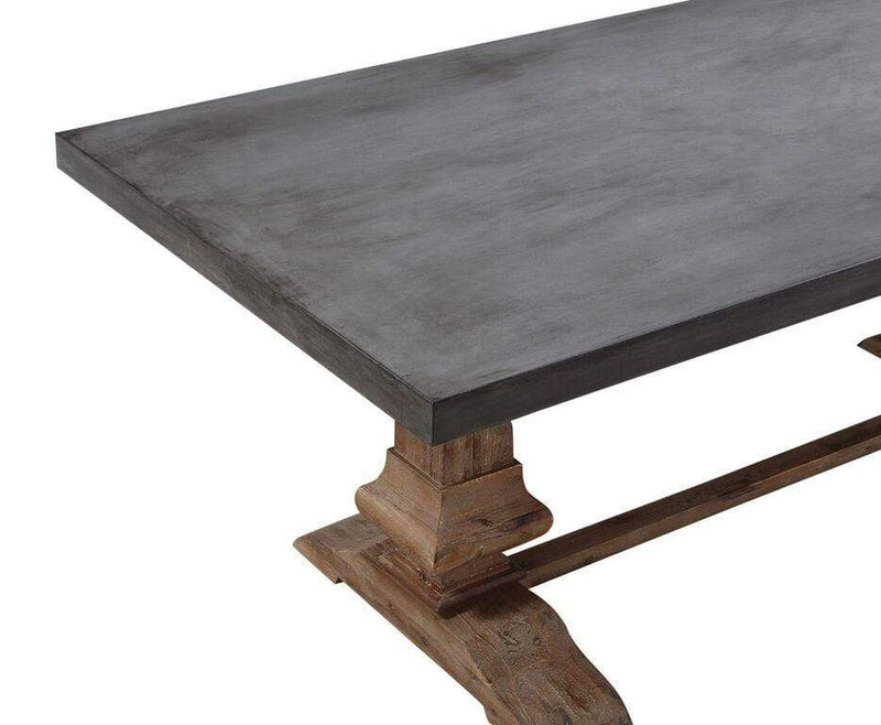 Thurston Concrete and Solid Wood Rectangular Dining Table