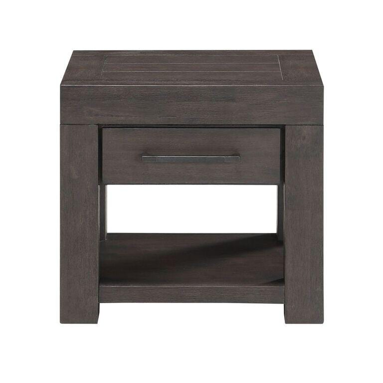 Heath One Drawer Rectangular End Table in Basalt Grey - What A Room Furniture
