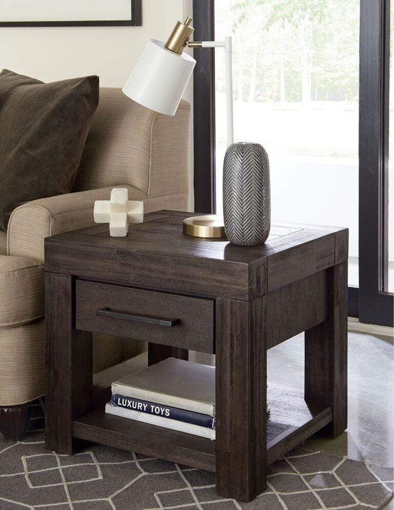 Heath One Drawer Rectangular End Table in Basalt Grey - What A Room