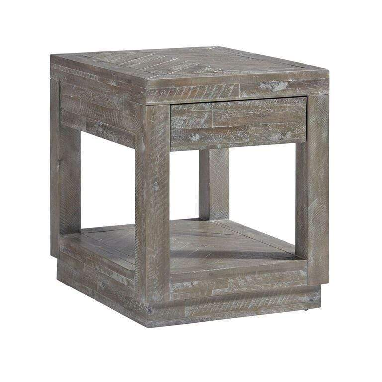 Herringbone Solid Wood One Drawer End Table in Rustic Latte - What A Room Furniture