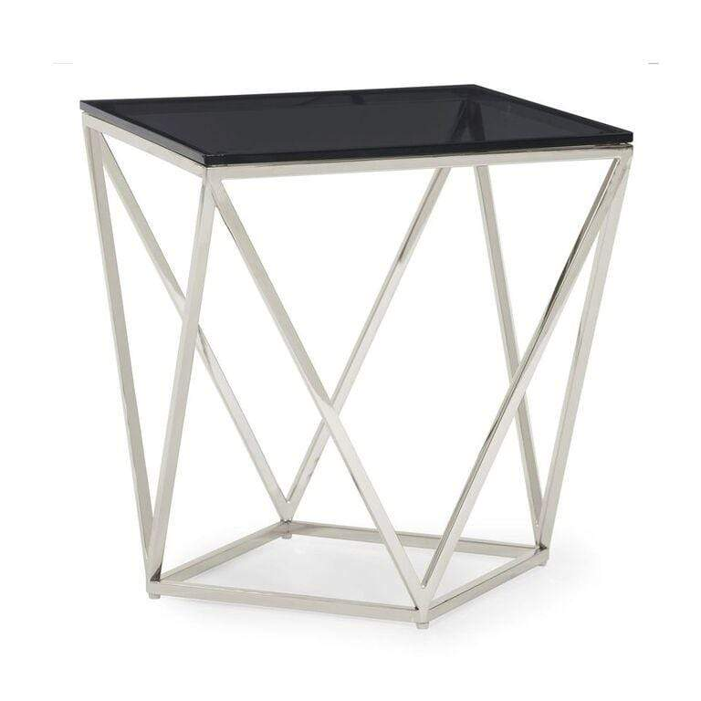 Aria Smoked Glass and Polished Stainless Steel End Table - What A Room Furniture