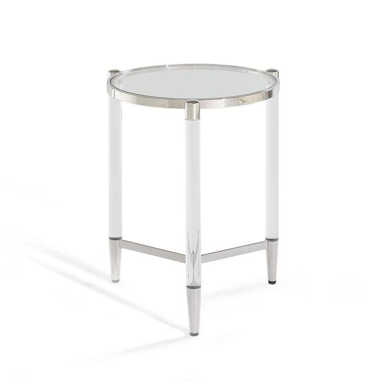 Marilyn Glass Top and Steel Base Round End Table - What A Room Furniture